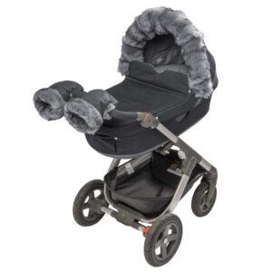 Tinkafu vognvotter til barnevogn i fargen grå og svart